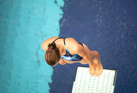 Woman on a diving board