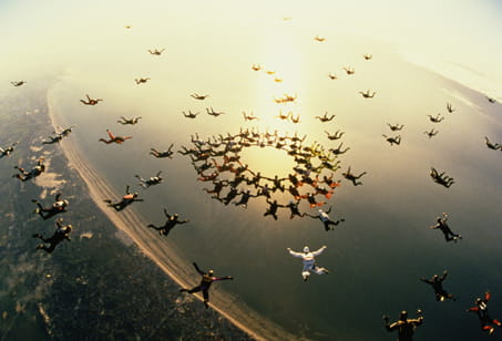 Skydivers in circular formation