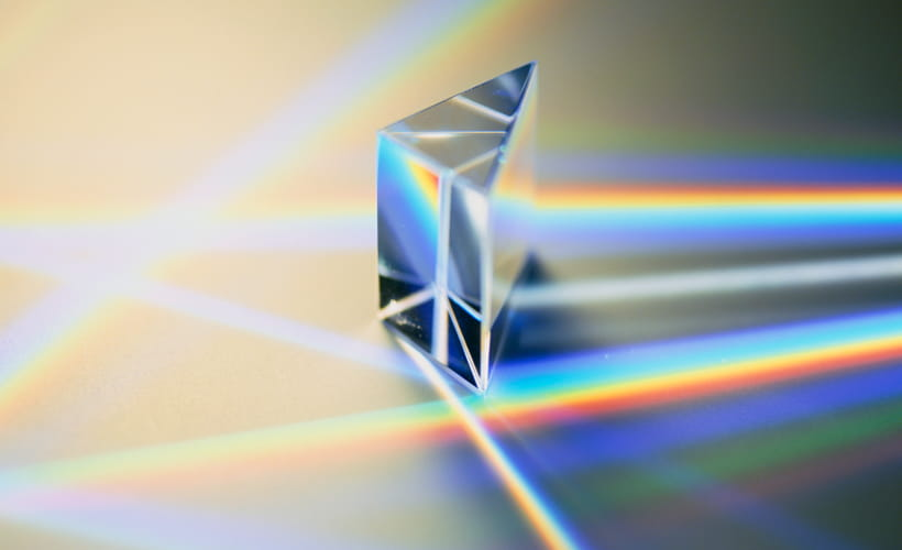 Prism with light refracting through it