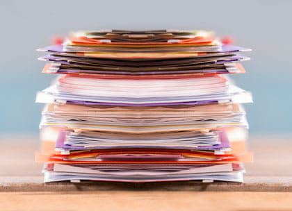 Untidy stack of documents